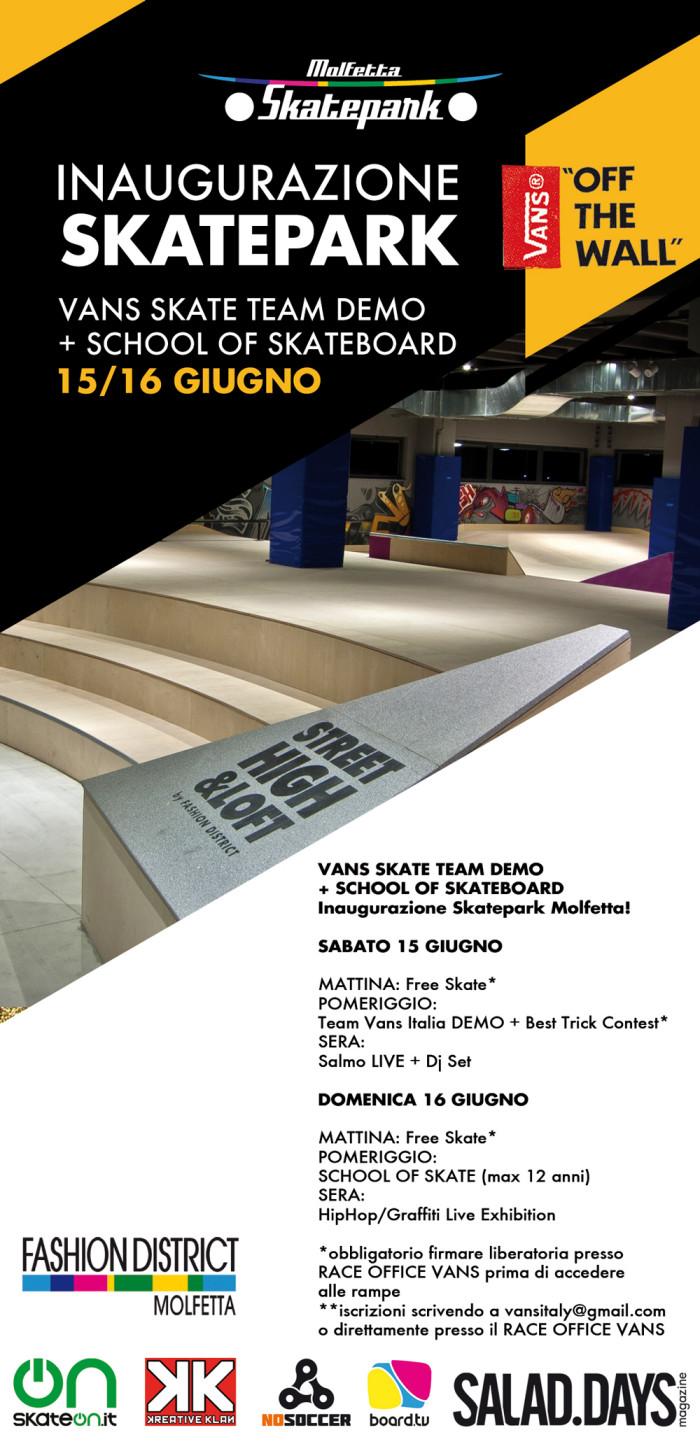 (15-16 Giugno) Inaugurazione Skatepark Molfetta! Vans Skate Team demo + School of Skateboard