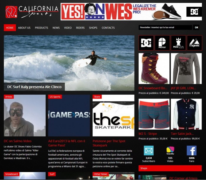 Nuovo sito online per California Sport