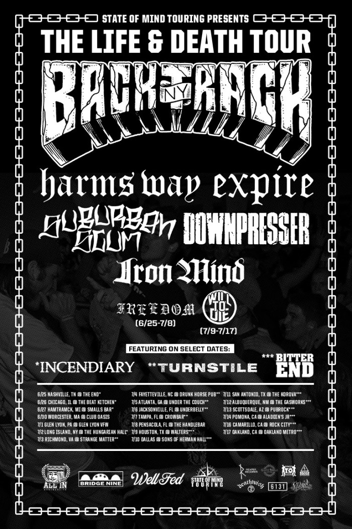 LIFE & DEATH TOUR ANNOUNCED FEATURING BACKTRACK, HARM'S WAY, EXPIRE & OTHERS