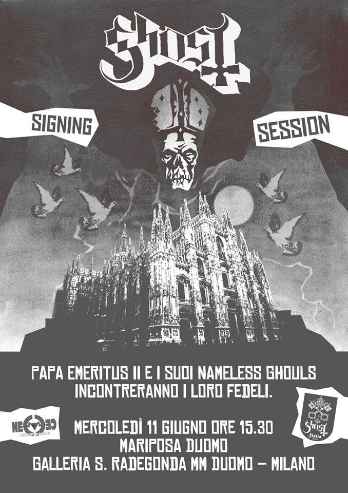 Ghost – Signing session esclusiva mercoledì 11 giugno da Mariposa Duomo, Milano