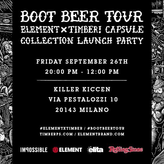 Element X Timber! Boot Beer Tour – venerdi 26 settembre
