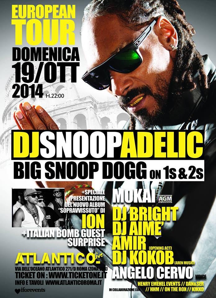 Snoop Dogg (dj-set + live performance) all'Atlantico Live (Roma) domenica 19 ottobre