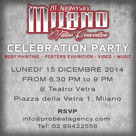 Milano Tattoo Convention celebration party – 15 dicembre, Teatro Vetra