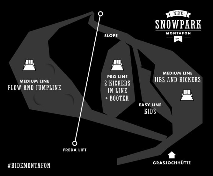 Nike Snowpark Montafon – Park Design 2014/15 with new Highlights