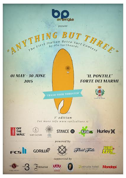 """""""Anything But Three"""" – The first Italian Retro Surf Contest by Ola Surfboards – Pontile/Forte dei Marmi – Maggio 2015"""