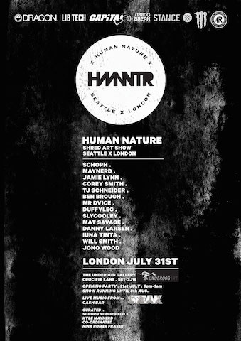 UNDERDOG GALLERY UNVEILS INTERNATIONAL SNOWBOARD ARTISTS @ X HMNNTR X SHOW