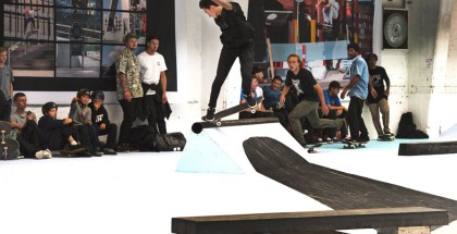 Nyjah Huston backside 180 nosegrind on the barrier at CPH Open