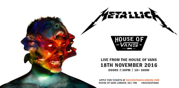Metallica: live performance del nuovo album 'Hardwired' alla House of Vans London