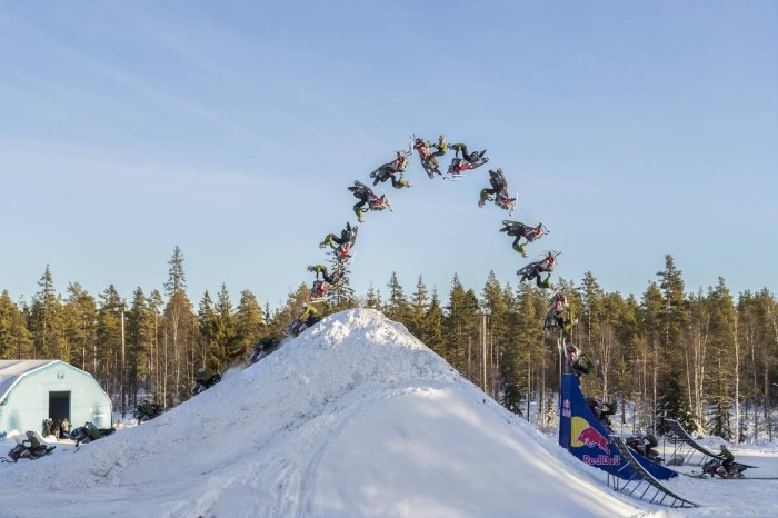 Daniel Bodin lands first double backflip on a freestyle snowmobile