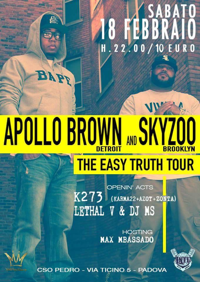 Sab Febbraio 18 Apollo Brown (Detroit) & Skyzoo (Brooklyn)