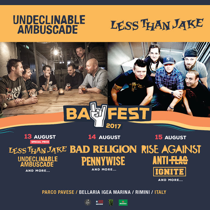 BAY FEST 2017: SI AGGIUNGE LA GIORNATA DEL 13 AGOSTO CON UNDECLINABLE AMBUSCADE E LESS THAN JAKE