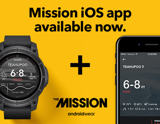 0136bdaef0a Now available  iOS app for Nixon   The Mission smartwatch