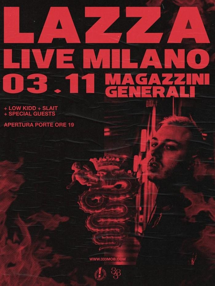 Lazza suona nella sua Milano: un live pieno di special guest. Venerdì 3 /11 ai Magazzini Generali