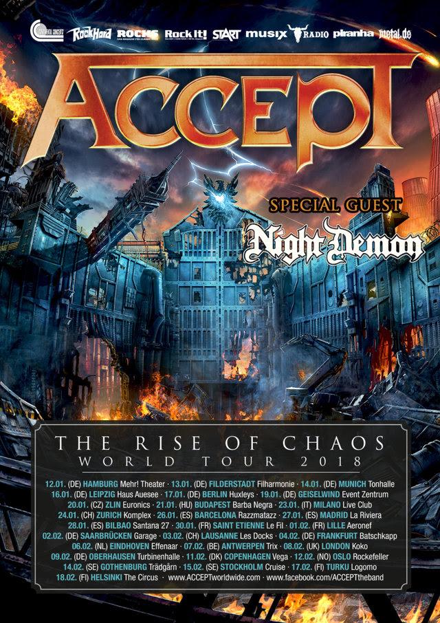 Accept – il tour europeo di 'The Rise Of Chaos' è iniziato! Unica data italiana il 23 gennaio