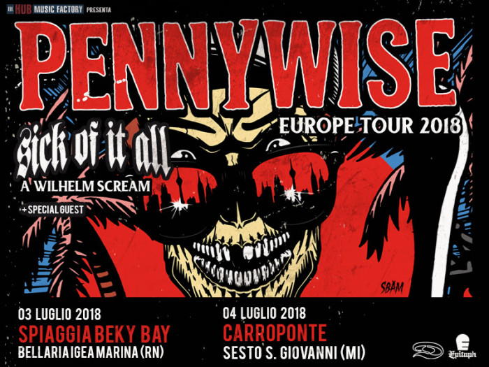 Pennywise: due date in Italia a Luglio assieme a Sick Of It All e A Wilhelm Scream