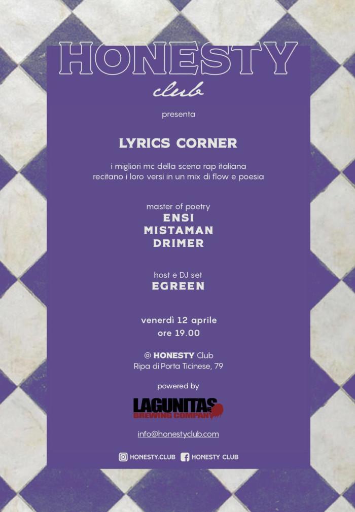 Honesty Club presenta Lyrics Corner, un evento tra musica rap e poesia