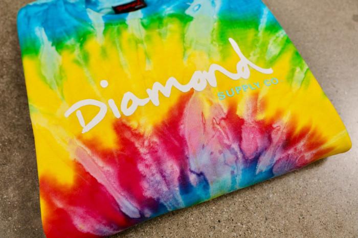 Diamond / Tie Dye OG Script crews + Mineral Wash tees