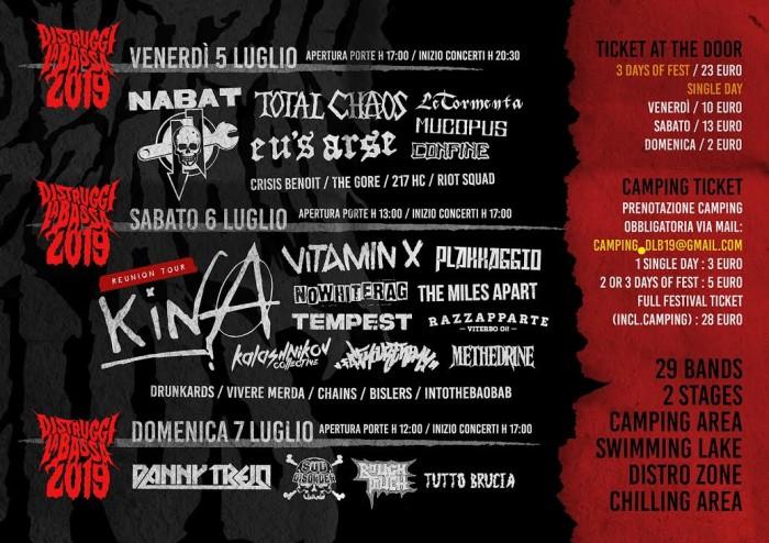 DISTRUGGI LA BASSA FESTIVAL 2019 – EDITION V. 05/ 06 /07 LUGLIO 2019