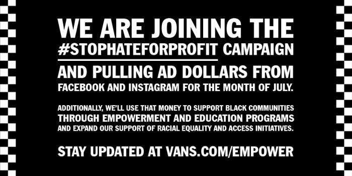 Vans joins #StopHateForProfits campaign
