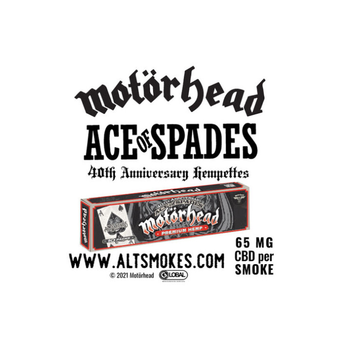 Global Merchandising Services and Motörhead joins with Alt Smokes for new Ace Of Spades hempettes line